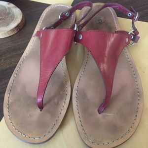 Gap sandals red leather Sz 9